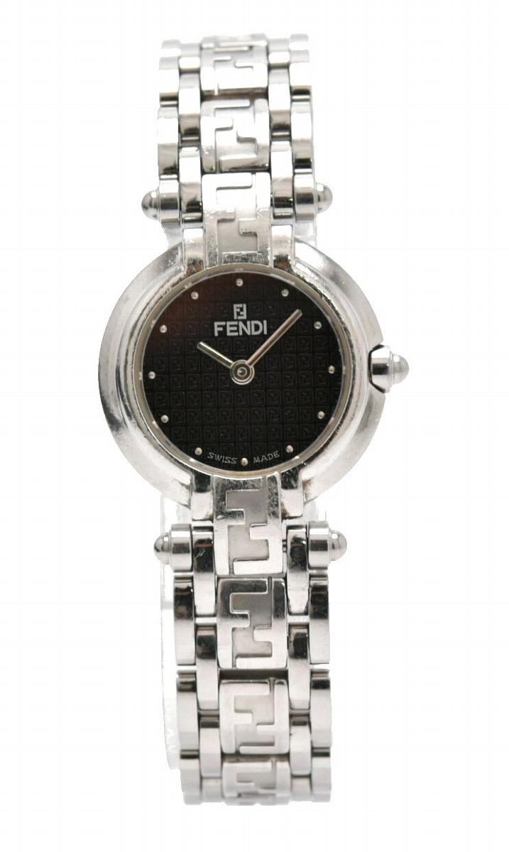 【ウォッチ】FENDI フェンディ ズッカ 黒文字盤 SS レディース QZ クォーツ 腕時計 750L 【中古】【k】