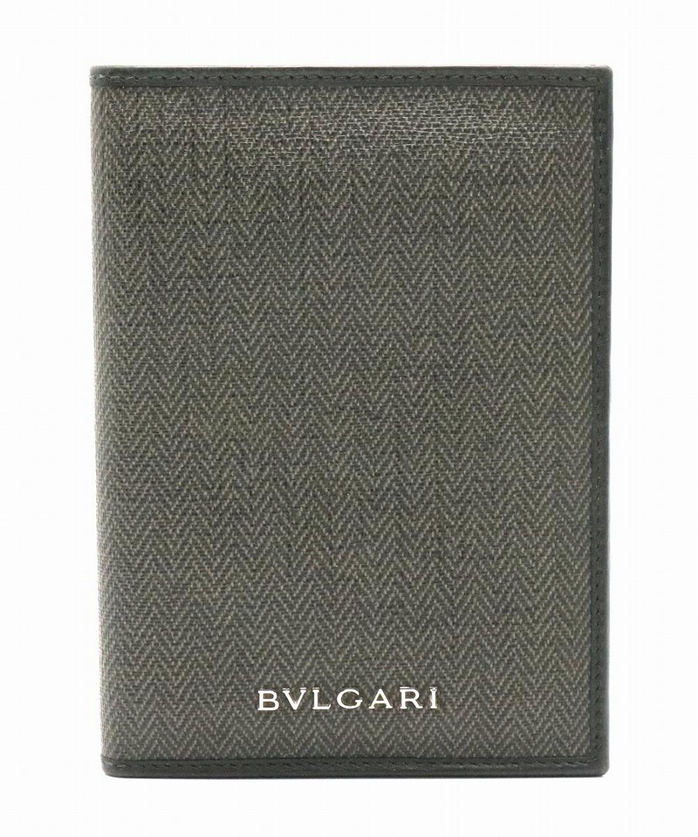 BVLGARI ブルガリ ウィークエンド カードケース パスポートケース パスケース 定期入れ PVC レザー ダークグレー 黒 ブラック 33302 【中古】【k】