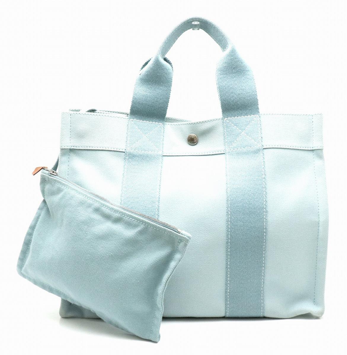 【バッグ】HERMES エルメス ボラボラPM ボラボラトートPM トートバッグ ハンドバッグ キャンバス 水色 ライトブルー 【中古】【k】