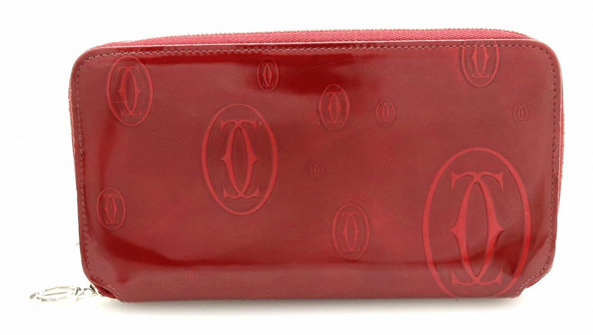 【財布】Cartier カルティエ ハッピーバースデー ハッピーバースデイ ラウンドファスナー長財布 エナメル ボルドー ワインレッド L3000721 【中古】【k】