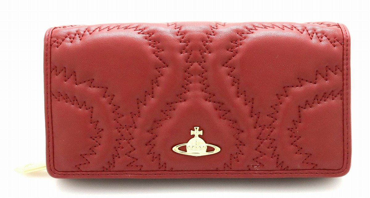 【未使用品】【財布】Vivienne Westwood ヴィヴィアン ウエストウッド オーブ レザー 2つ折 長財布 ワインレッド 【中古】【k】