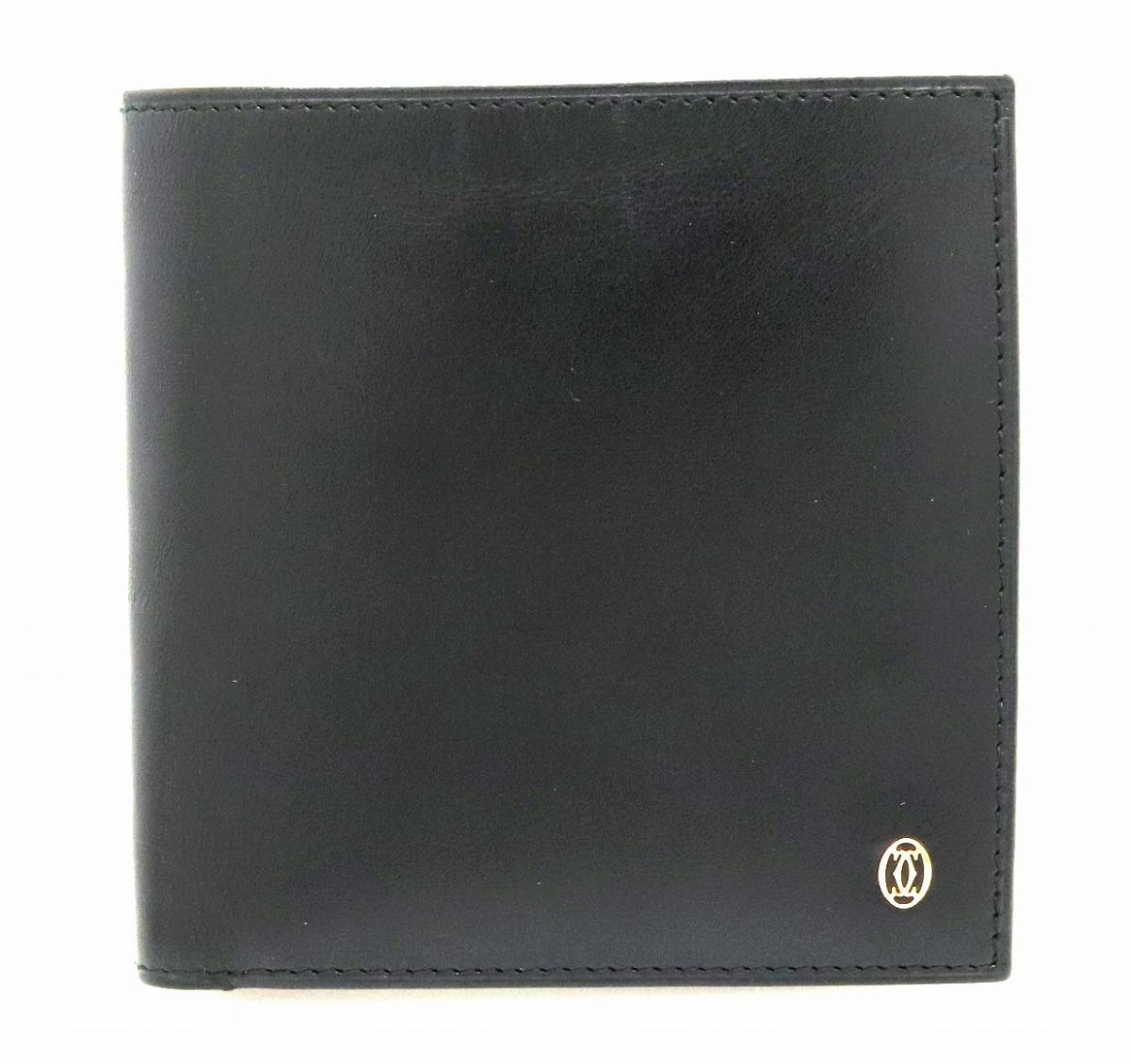 【財布】Cartier カルティエ パシャライン パシャ ドゥ カルティエ 2つ折財布 カーフレザー 黒 ブラック ゴールド金具 L3000137 【中古】【k】