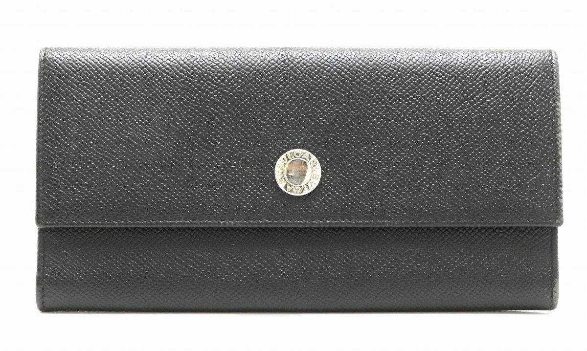 【財布】BVLGARI ブルガリ クラシコ グレインレザー 2つ折 長財布 黒 ブラック シルバー金具 20911 【中古】【k】