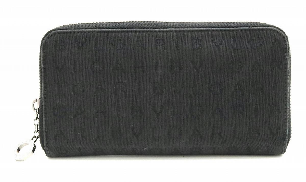 【財布】BVLGARI ブルガリ ロゴマニア ラウンドファスナー長財布 ジャガード キャンバス レザー ブラック 黒 31003 【中古】【k】