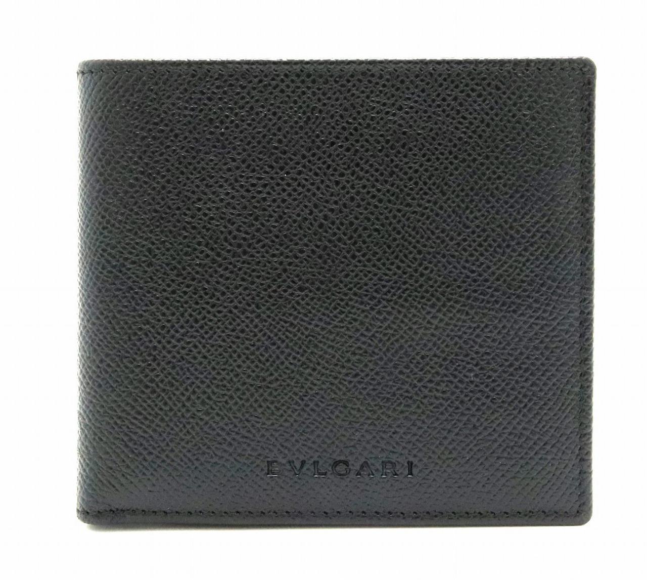 【未使用品】【財布】BVLGARI ブルガリ ロゴ レザー グレインレザー 2つ折 財布 ブラック 黒 【中古】【k】