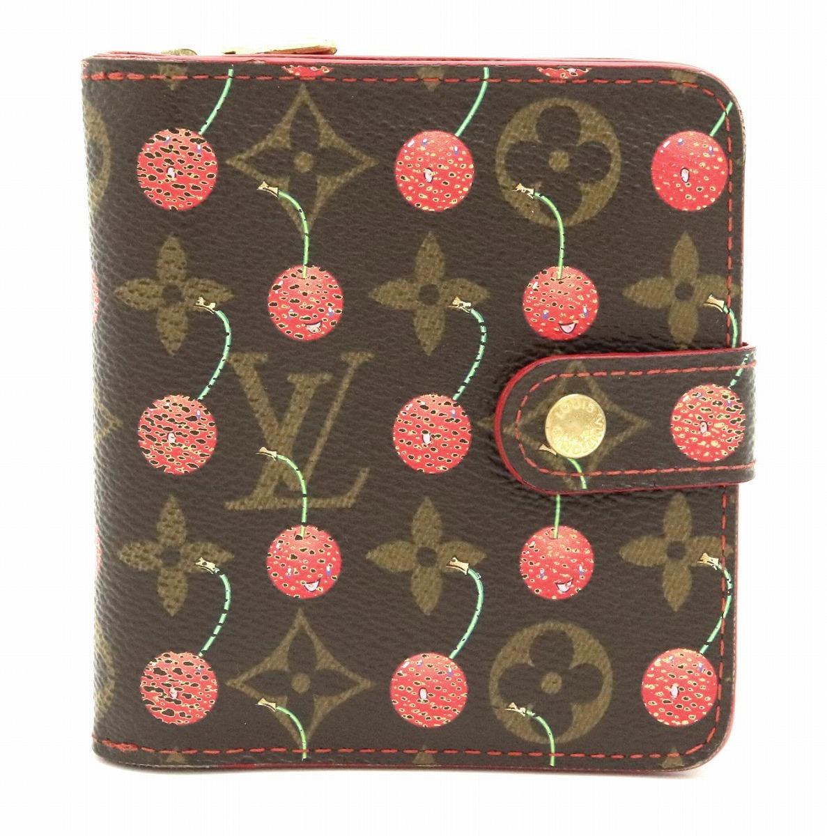 【財布】LOUIS VUITTON ルイ ヴィトン モノグラムチェリー コンパクトジップ 2つ折 コの字型ファスナー財布 さくらんぼ M95005 【中古】【k】