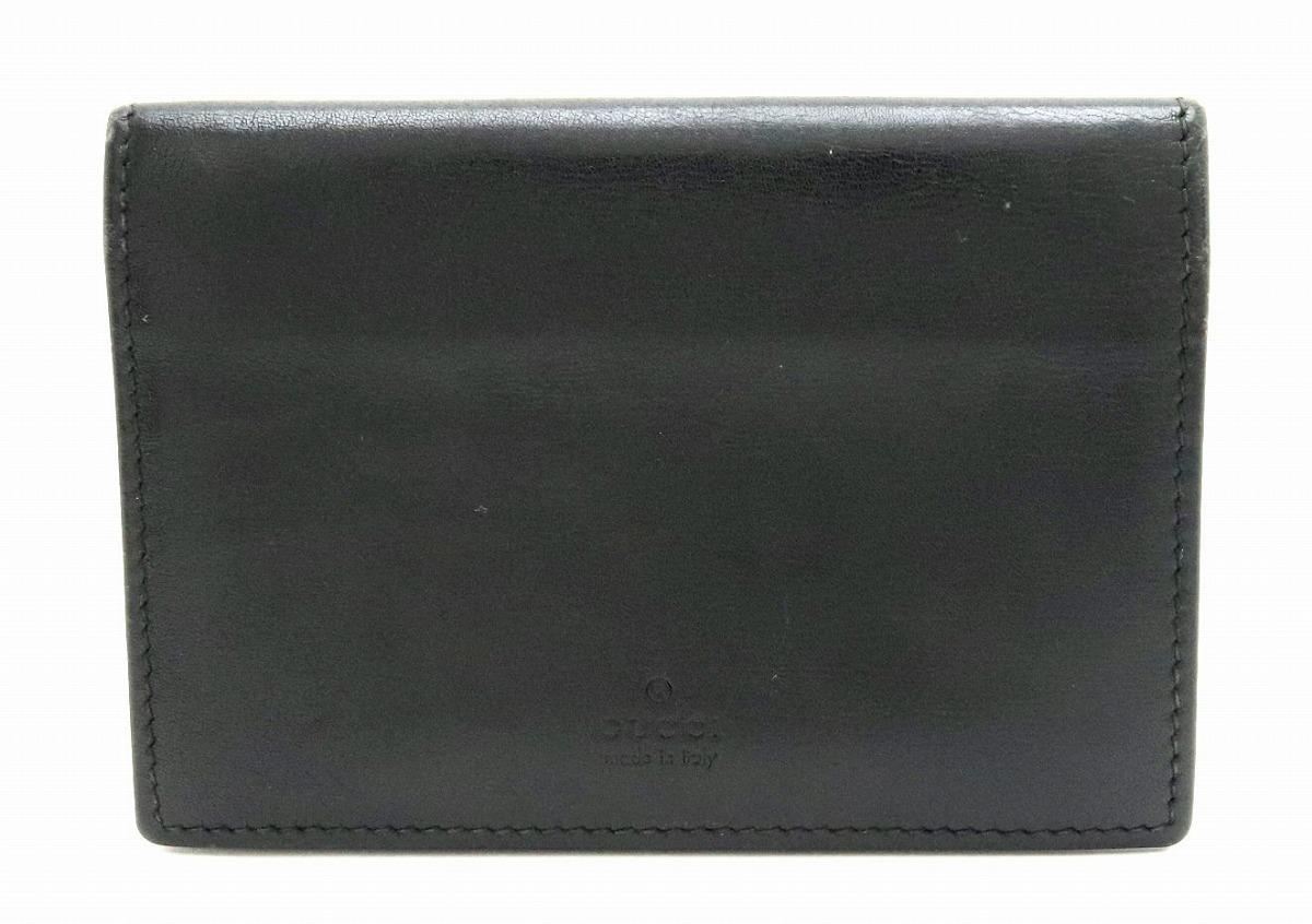 GUCCI グッチ レザー ロゴ カードケース 名刺入れ ブラック 黒 170581 【中古】【k】