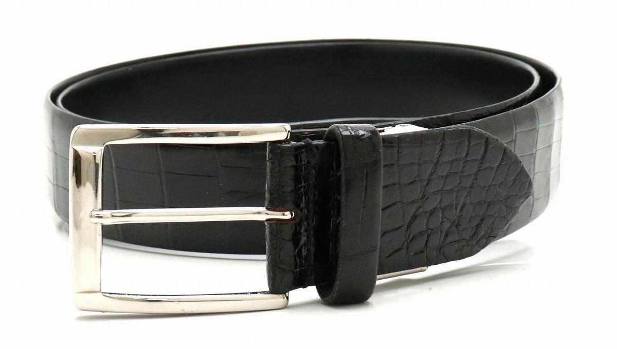 【新品未使用品】CROCODILE クロコダイル ワニ革 メンズ ベルト ブラック 黒 シルバー金具 122cm 40mm 【k】