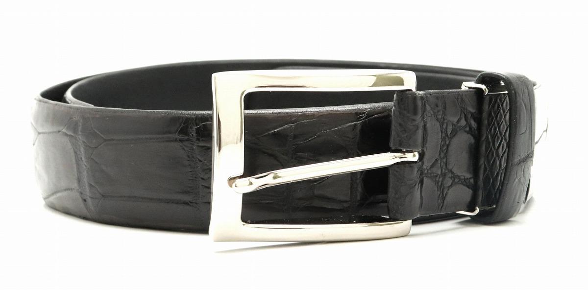 【新品未使用品】CROCODILE クロコダイル ワニ革 メンズ ベルト ブラック 黒 シルバー金具 123cm 35mm 【k】