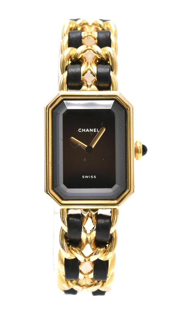 【ウォッチ】CHANEL シャネル プルミエール Mサイズ ブラック文字盤 ゴールドメッキ レディース QZ クォーツ 腕時計 H0001 【中古】【k】