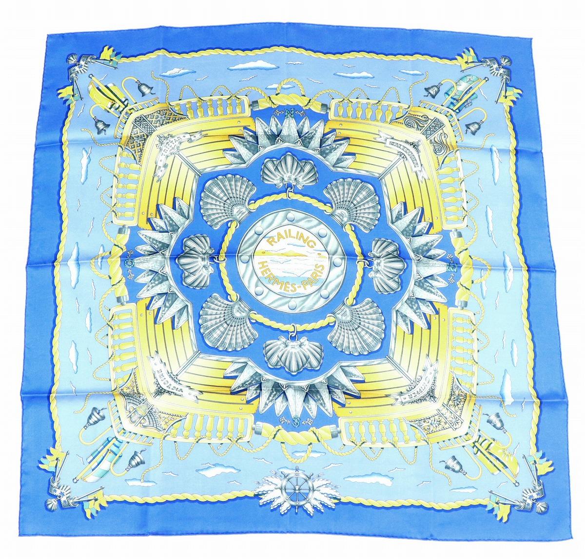 【未使用品】HERMES エルメス スカーフ カレ 90 シルク100% 『RAILING』 船の手摺 ブルー 青 マルチカラー 【中古】【s】