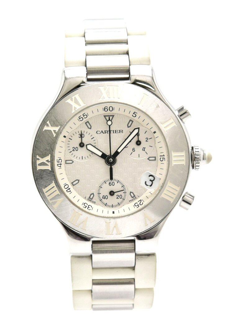 【ウォッチ】Cartier カルティエ マスト21 クロノスカフ ラバーベルト 白 メンズ クォーツ 腕時計 W10184U2 【中古】【k】