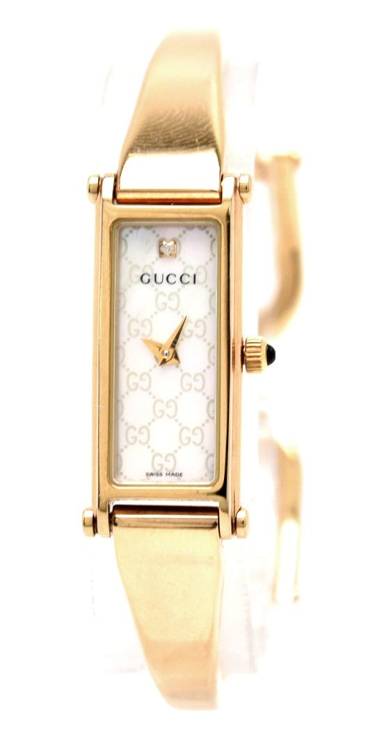 【ウォッチ】GUCCI グッチ 1Pダイヤ ホワイトシェル文字盤 ピンクゴールドメッキ PGP レディース QZ クォーツ 腕時計 YA015560 1500L 【中古】【u】