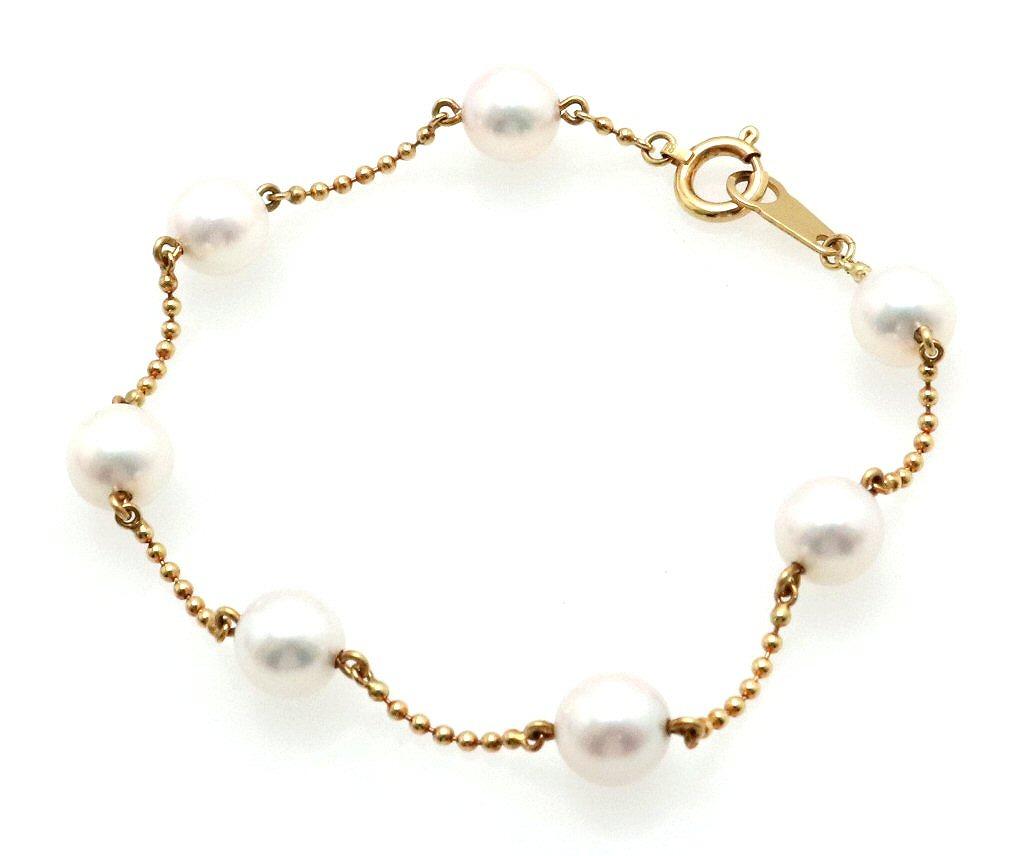 ジュエリー MIKIMOTO ミキモト 着後レビューで 送料無料 パール ブレスレット 公式 K18YG m k 6.3m イエローゴールド 真珠 中古