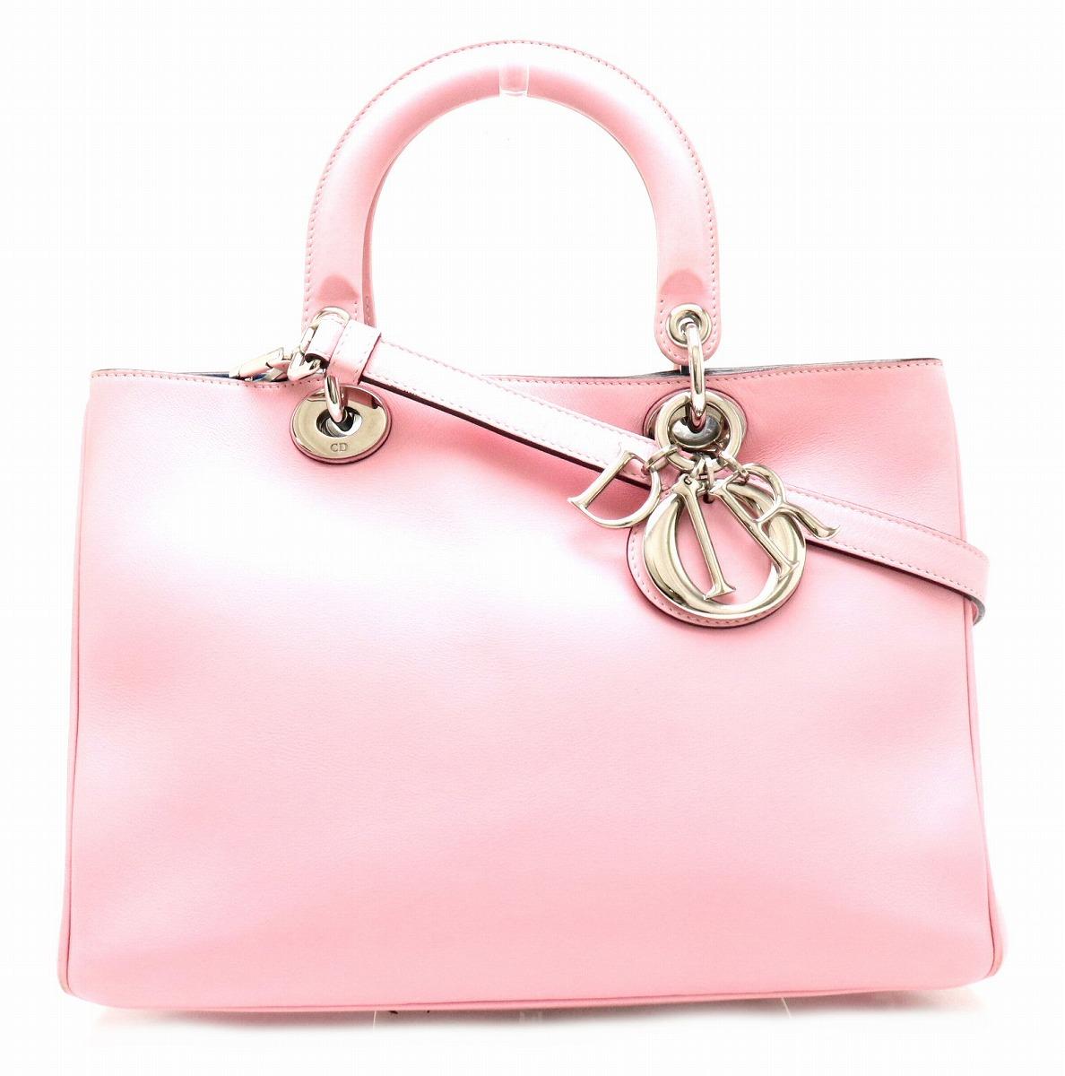 【バッグ】Christian Dior クリスチャン ディオール ディオリッシモ 2WAYバッグ ハンドバッグ ショルダーバッグ レザー ピンク ブルー 青 シルバー金具 【中古】【k】