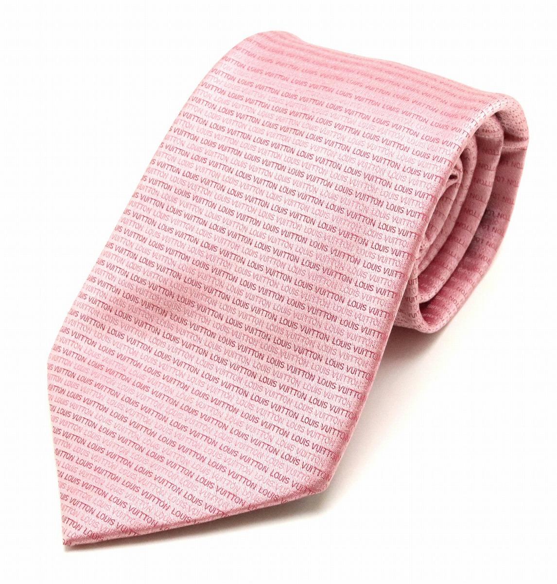 【アパレル】LOUIS VUITTON ルイ ヴィトン ロゴ 総柄 ネクタイ シルク100% ピンク 【中古】【k】