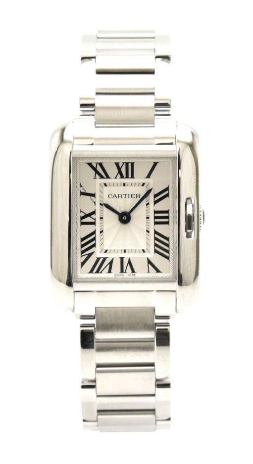 【ウォッチ】 【新品仕上げ済】Cartier カルティエ タンクアングレーズ アングレーズ SM SS レディース クォーツ 腕時計 W5310022 【中古】