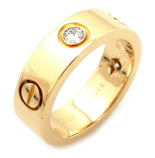【ジュエリー】【新品仕上げ済】Cartier カルティエ ラブリング 指輪 ハーフダイヤ K18YG 750YG イエローゴールド ダイヤモンド 3PD 9号 #49 【中古】【k】