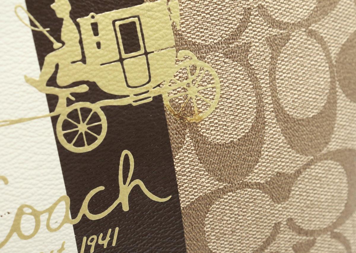 バッグ COACH コーチ シグネチャー ヘリテージ ストライプ トートバッグ ショルダーバッグ PVC レザー カーキベージュ ブラウン ホワイト ライム 13196kshQtrd