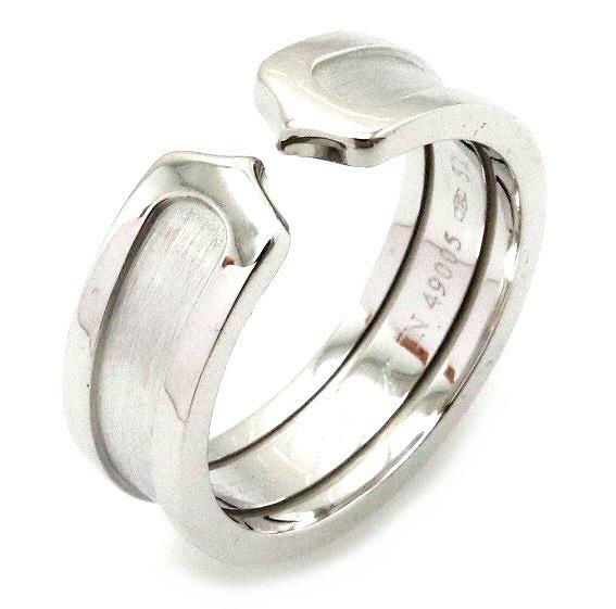 【ジュエリー】【新品仕上げ済】Cartier カルティエ 2C ロゴ モチーフ リング 指輪 K18WG ホワイトゴールド 12号 #52 C2 B4040500 B4040549 【中古】【k】