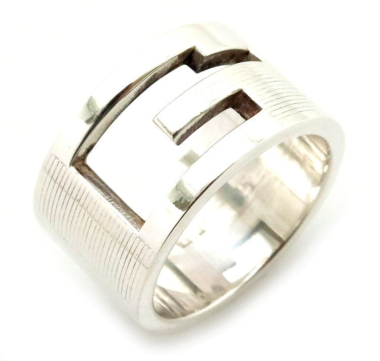 【ジュエリー】【新品仕上げ済】GUCCI グッチ ブランデッド Gリング オープンGリング Gロゴリング ワイドタイプ 指輪 15号 #15 SV925 シルバー 【中古】【k】