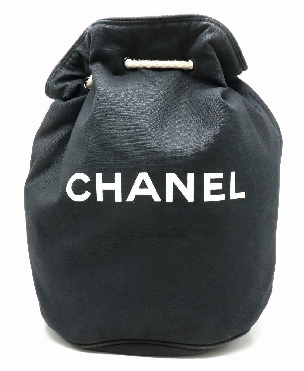 ショルダー ロゴ [20191031] 【中古】 キャンバス ブラック 黒 【CHANEL シャネル】 巾着型 ビーチバッグ