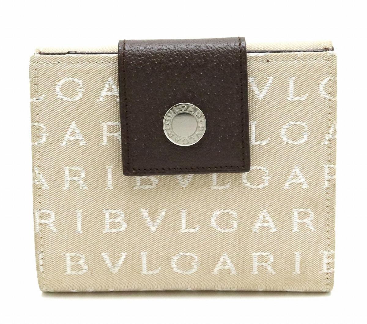 【財布】BVLGARI ブルガリ レッタレ ロゴマニア 2つ折 Wホック ダブルホック財布 キャンバス レザー ベージュ 茶 ダークブラウン L1350 【中古】【s】