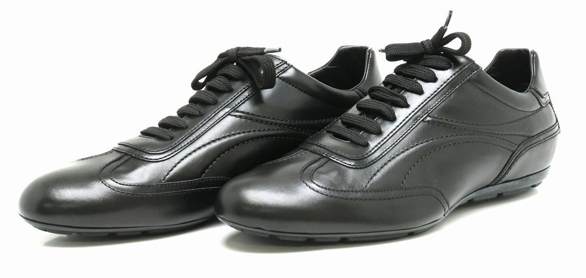 【靴】LOUIS VUITTON ルイ ヴィトン スニーカー シューズ レザー ブラック 黒 #8 1/2 27.5cm 【中古】【s】