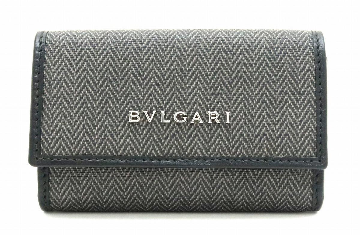 【未使用品】BVLGARI ブルガリ ウィークエンド 6連 キーケース PVC レザー ダークグレー 黒 ブラック 32583 【中古】【s】