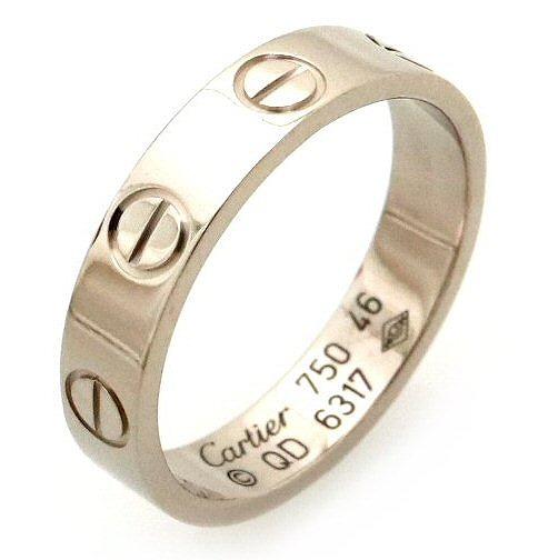 【ジュエリー】【新品仕上げ済】Cartier カルティエ ミニラブリング 指輪 ウエディングリング K18WG ホワイトゴールド #46 6号 B4085100 【中古】【s】