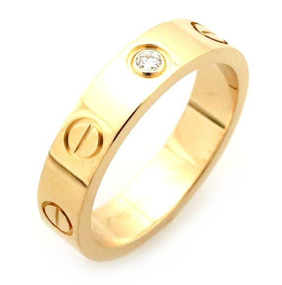【ジュエリー】【新品仕上げ済】Cartier カルティエ ミニラブリング 指輪 ウエディングリング 1PD ダイヤモンド K18YG イエローゴールド #47 7号 B4056100 【中古】【s】