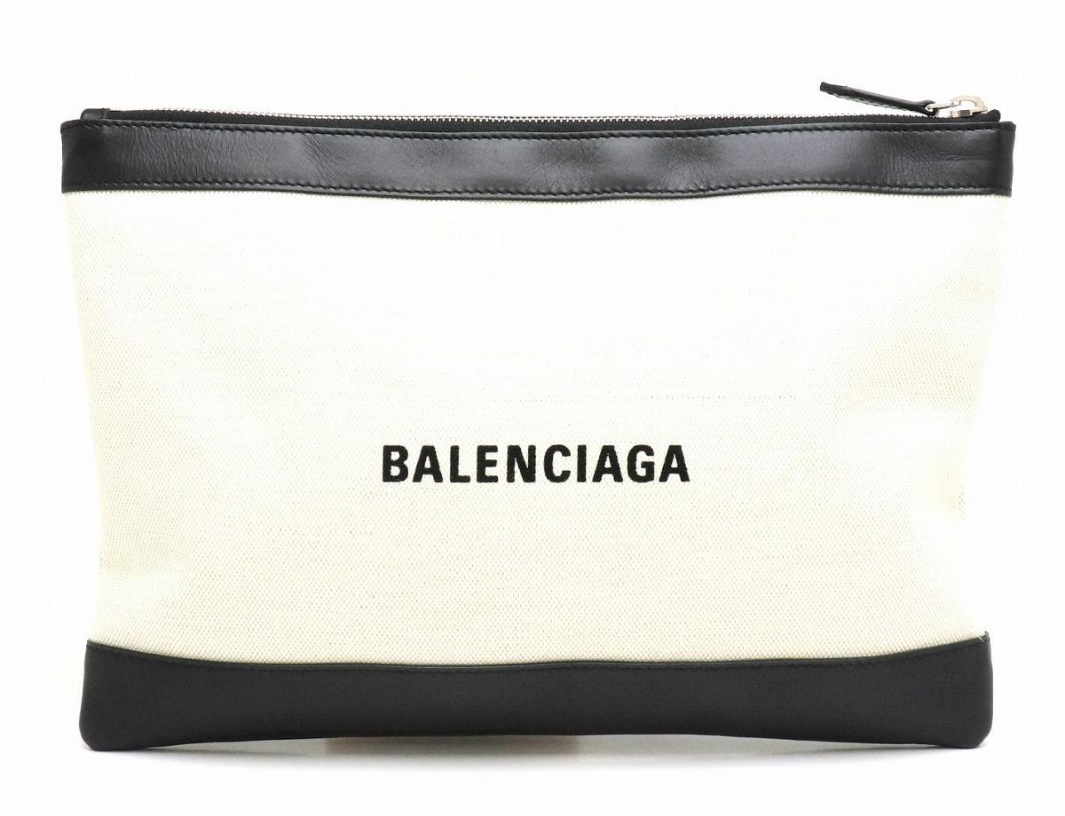 【バッグ】BALENCIAGA バレンシアガ ネイビー クリップ M ロゴ クラッチバッグ セカンドバッグ ポーチ キャンバス 黒 ブラック アイボリー 373834 【中古】【s】