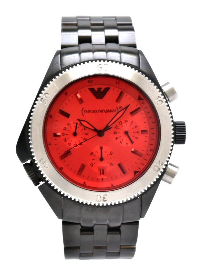【ウォッチ】EMPORIO ARMANI エンポリオ アルマーニ REDモデル デイト クロノグラフ レッド文字盤 SS クォーツ メンズ 腕時計 AR-0598 AR0598 【中古】【k】