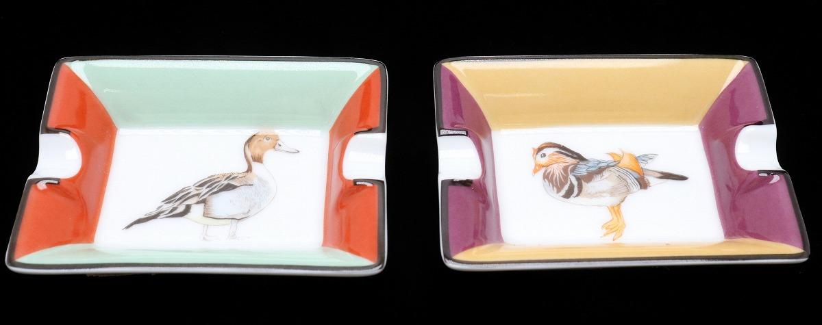 【未使用品】HERMES エルメス アッシュトレイ カルガモ かるがも 灰皿 ミニトレイ 小物入れ ポーセリン リモージュ焼き