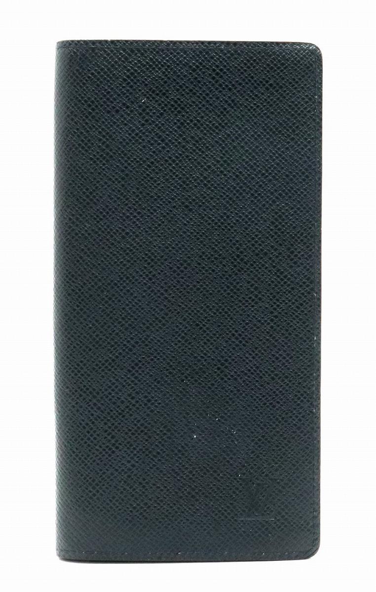 【財布】LOUIS VUITTON ルイ ヴィトン タイガ ポルトフォイユ ブラザ 2つ折長財布 レザー ボレアル ネイビー M32654 【中古】【s】