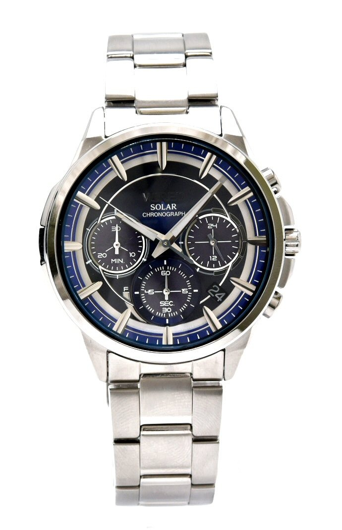 【ウォッチ】SEIKO セイコー WIRED ワイアード アポロ クロノグラフ デイト ブラック文字盤 ソーラー SS メンズ 腕時計 VR42-0AA0 AGAD070 【中古】