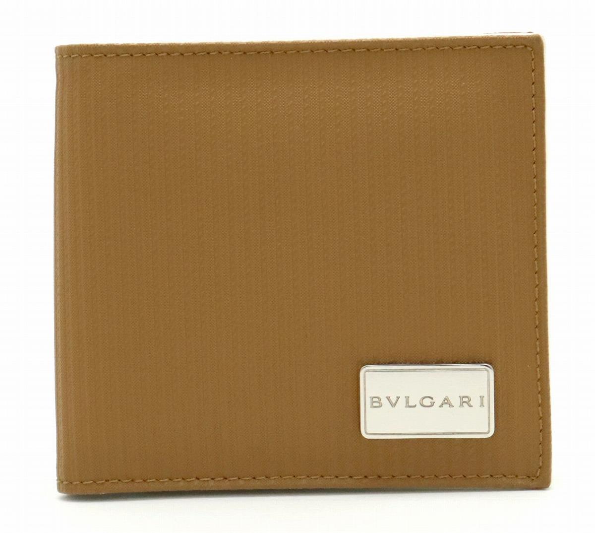 【財布】BVLGARI ブルガリ ミレリゲ 2つ折財布 PVC レザー ブラウン 茶 シルバー金具 25541 【中古】【s】