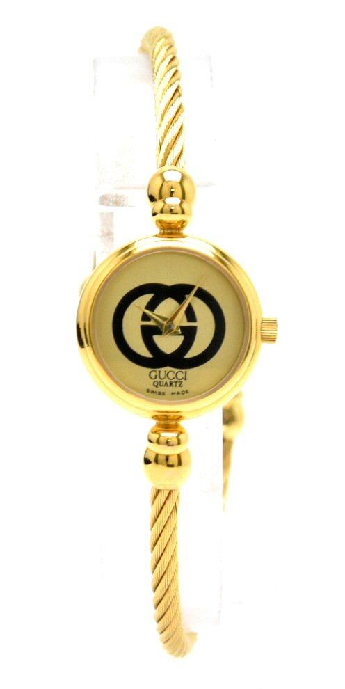 【ウォッチ】GUCCI グッチ バングル ウォッチ ゴールド文字盤 GP ツイスト レディース QZ クォーツ 腕時計 2047L 【中古】【s】