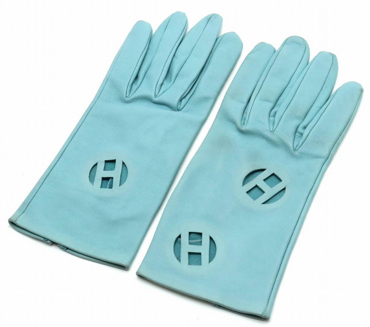 HERMES エルメス Hロゴ レザーグローブ 手袋 ライトブルー 水色 #L 【中古】