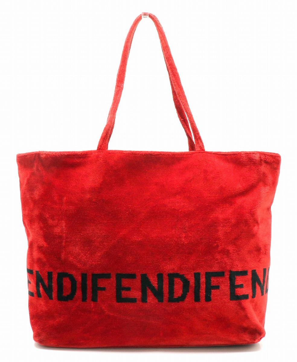 【バッグ】FENDI フェンディ ロゴ ハンドバッグ トートバッグ ショルダートート ベロア レッド 赤 ブラック 黒 【中古】