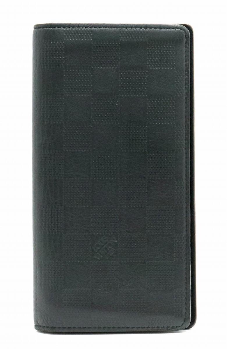 【財布】LOUIS VUITTON ルイ ヴィトン ダミエアンフィニ ポルトフォイユ ブラザ 2つ折長財布 レザー オニキス 黒 ブラック イニシャル入り N63010 【中古】