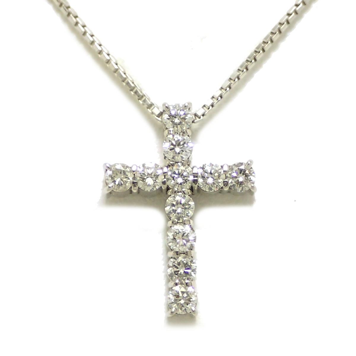 【ジュエリー】ダイヤ クロス ネックレス Pt900 Pt850 プラチナ ダイヤモンド0.86ct 【中古】