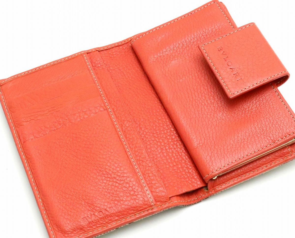 財布 BVLGARI ブルガリ レッタレ ロゴマニア 2つ折財布 ガマ口 がまぐち キャンバス レザー カーキベージュ サーモンレッドPXZiuOlwkT