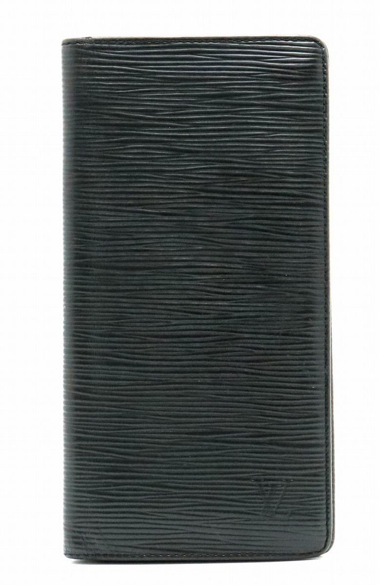【財布】LOUIS VUITTON ルイ ヴィトン エピ ポルトフォイユ ブラザ 2つ折長財布 レザー ノワール 黒 ブラック M60622 【中古】