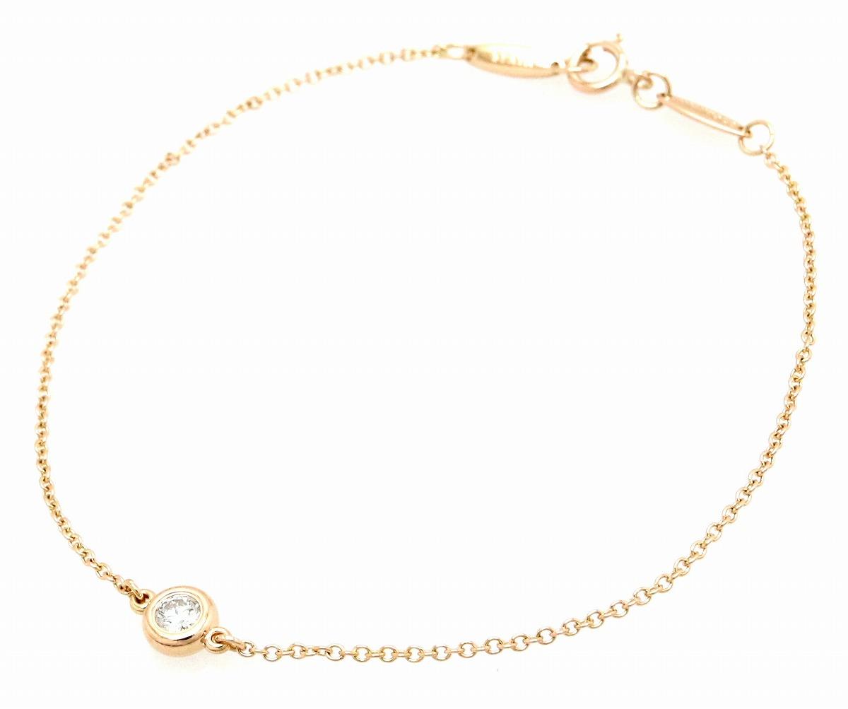 【ジュエリー】【新品仕上げ済】TIFFANY&Co. ティファニー バイザヤード ダイヤ ブレスレット K18PG ピンクゴールド RG ローズゴールド 1PD ダイヤモンド 0.10ct 【中古】