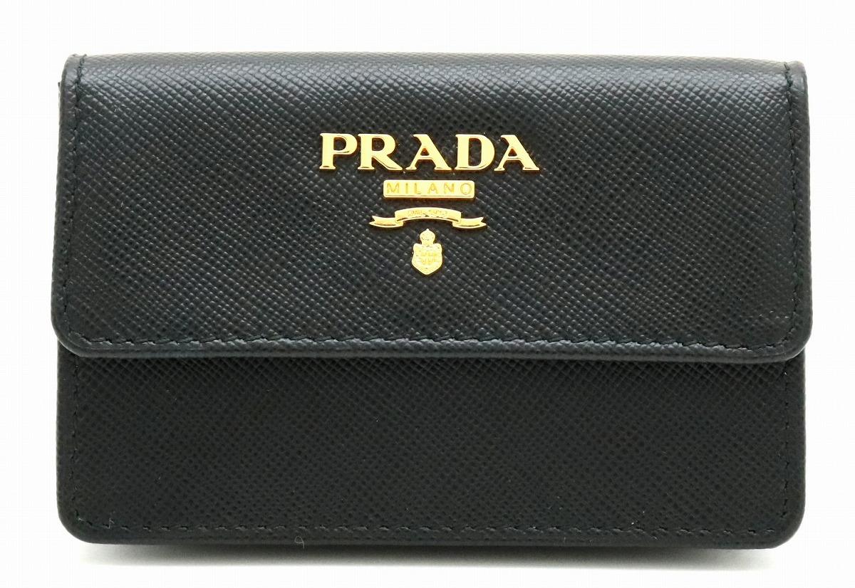 PRADA プラダ カードケース 名刺入れ 定期入れ パスケース サフィアーノ 型押しレザー NERO ブラック 海外ブティック購入品 1M0881 【中古】