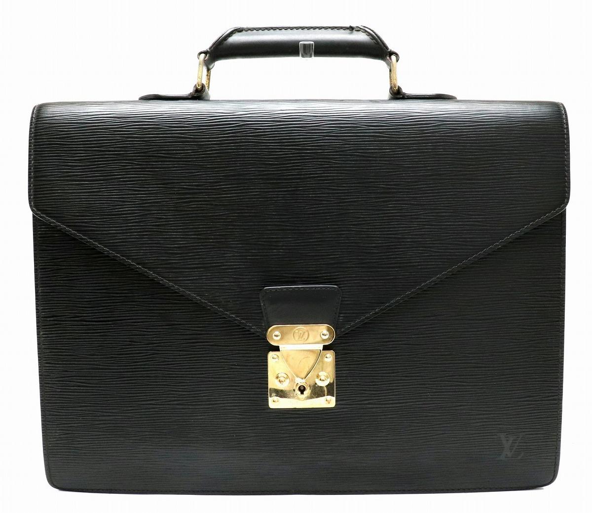 【バッグ】LOUIS VUITTON ルイ ヴィトン エピ セルヴィエット コンセイエ 書類カバン ビジネスバッグ ブリーフケース レザー ノワール 黒 ブラック M54422 【中古】