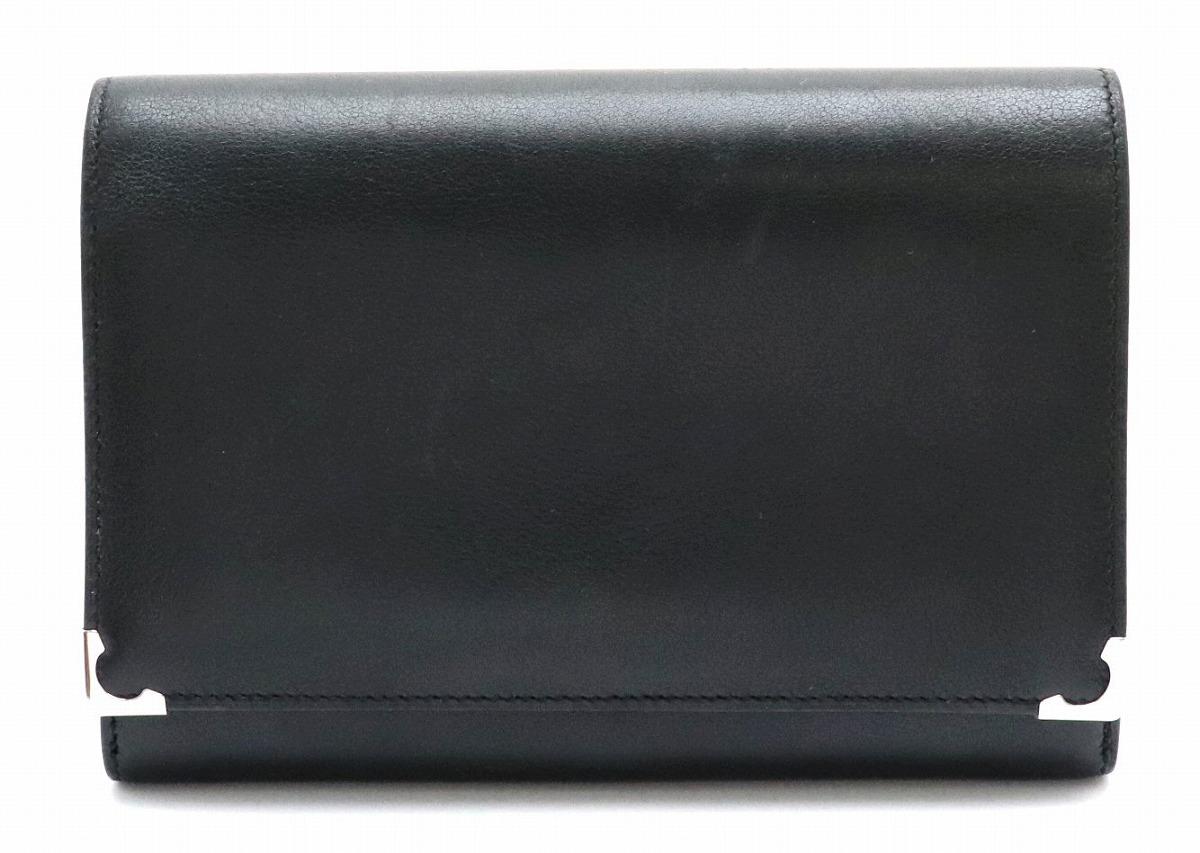 【財布】Cartier カルティエ カボション がま口 ガマグチ 2つ折財布 レザー カーフ 黒 ブラック ボルドー シルバー金具 L3000613 【中古】