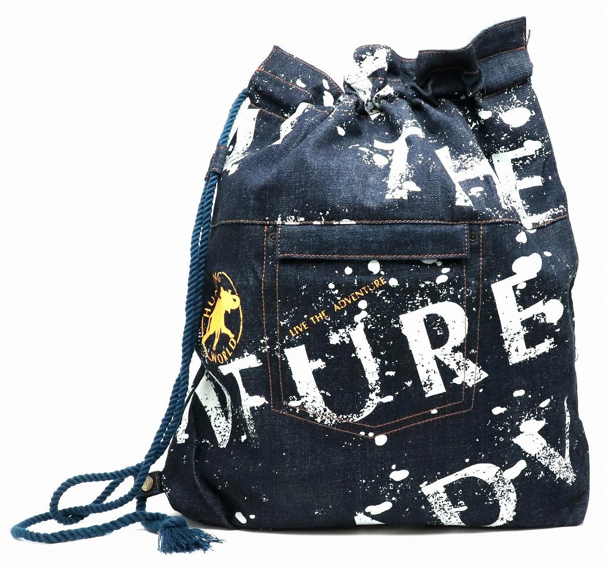 【バッグ】HUNTING WORLD ハンティング ワールド 象徴ロゴ 巾着バッグ ワンショルダーバッグ デニム キャンバス インディゴブルー ライトブルー 【中古】