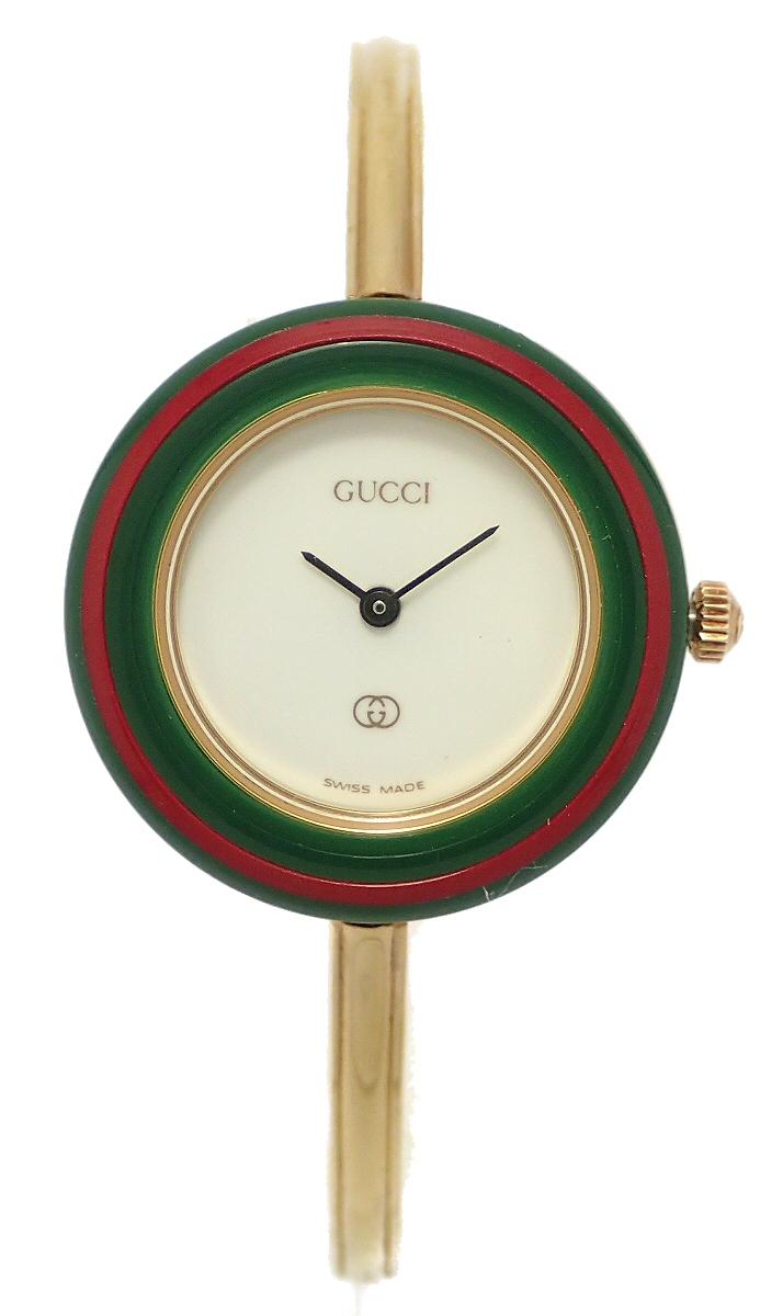 【ウォッチ】GUCCI グッチ チェンジベゼル ホワイト文字盤 GP ゴールドメッキ レディース QZ クォーツ 腕時計 1100-L 【中古】